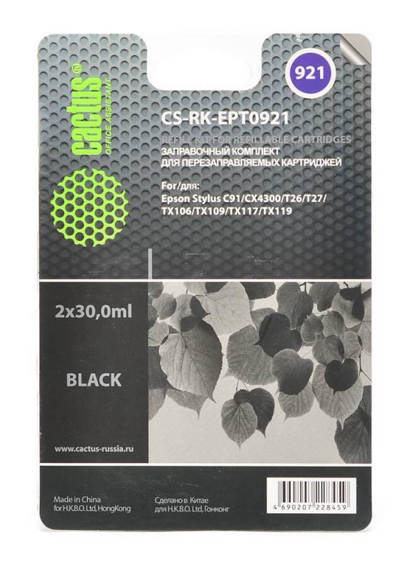 Заправка для ПЗК Cactus CS-RK-EPT0921 черный (11.4мл) Epson Stylus C91Перезаправляемые струйные картриджи<br>