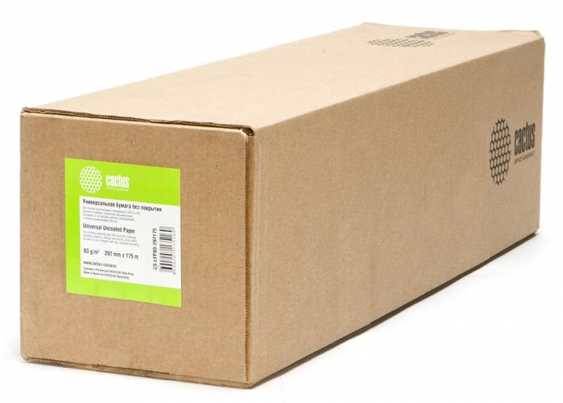 Бумага Cactus CS-LFP80-297175 A3 297мм-175м, 80г/м2, белая инженерная бумага втулка: 76.2мм (3