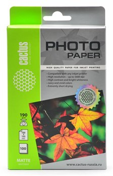 Фотобумага Cactus CS-MA6190100 10x15/190г/м2/100л./белый матовое для струйной печати - фото 10323