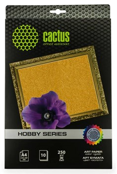 Фотобумага Cactus CS-DA425010G A4, 250г/м2, 10л, золото для струйной печати - фото 10350