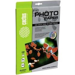 Фотобумага Cactus CS-GA423020E A4, 230г/м2, 20л., белый глянцевое для струйной печати - фото 10657