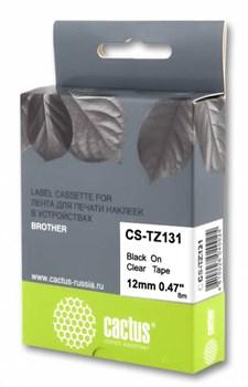 Лента Cactus CS-TZ131 (TZE-131) черный для Brother 1010/1280/1830VP/7600VP (12 мм x 8 м) - фото 11242