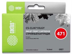 Струйный картридж Cactus CS-CLI471XLGY (CLI-471XLGY) серый для CanonPixma MG7740, TS8040, TS9040 (10,8 мл) - фото 11919