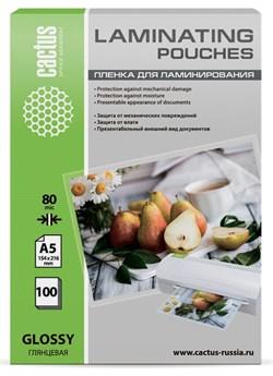 Пленка для ламинирования Cactus 80мкм A5 (100шт) глянцевая 154x216мм CS-LPGA580100 - фото 12137