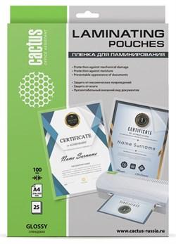 Пленка для ламинирования Cactus 100мкм A4 (25шт) глянцевая 216x303мм CS-LPGA410025 - фото 12139