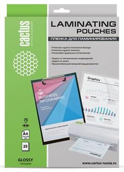 Пленка для ламинирования Cactus 75мкм A4 (25шт) глянцевая 216x303мм CS-LPGA47525 - фото 12154