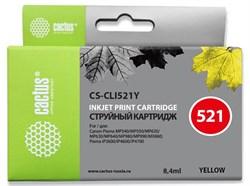 Струйный картридж Cactus CS-CLI521Y (CLI-521Y) желтый для Canon Pixma iP3600, iP4600, iP4600x, iP4700, MP310, MP310x, MP540, MP540X, MP550, MP560, MP620, MP620b, MP630, MP640, MP660, MP980, MP990, MX860, MX870 (8,4 мл) - фото 13235