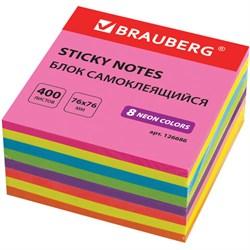 Блок самоклеящийся (стикер), Brauberg, неоновый, 76х76 мм, 400 листов, 8 цветов - фото 13790