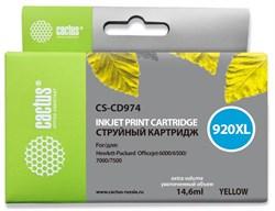 Струйный картридж Cactus CS-CD974 (HP 920XL) желтый увеличенной емкости для HP OfficeJet 6000 Pro, 6500, 6500a, 7000, 7500, 7500a (e910a) (14,6 мл) - фото 14624