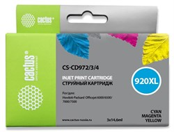 Комплект струйных картриджей Cactus CS-CD972/3/4 (HP 920XL) для HP OfficeJet 6000 Pro, 6500, 6500a, 7000, 7500, 7500a (e910a) (3 x 14,6 мл) - фото 14652