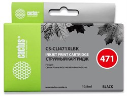 Струйный картридж Cactus CS-CLI471XLBK (CLI-471XLBk) фото черный для Canon Pixma MG5740, MG6840, MG7740, TS5040, TS6040, TS8040, TS9040 (10,8 мл) - фото 14821