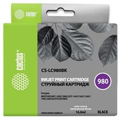 Струйный картридж Cactus CS-LC980BK (LC980BK) черный для принтеров Brother DCP-145c, 163c, 165c, 167c, 195c, 197c, 365cn, 375cw, 377cw, MFC-250c, 255cw, 257cw, 290c, 295cn, 297c (16 мл) - фото 14830