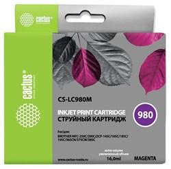 Струйный картридж Cactus CS-LC980M (LC980M) пурпурный для принтеров Brother DCP-145c, 163c, 165c, 167c, 195c, 197c, 365cn, 375cw, 377cw, MFC-250c, 255cw, 257cw, 290c, 295cn, 297c (16 мл) - фото 14832