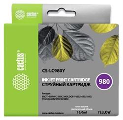 Струйный картридж Cactus CS-LC980Y (LC980Y) желтый для принтеров Brother DCP-145c, 163c, 165c, 167c, 195c, 197c, 365cn, 375cw, 377cw, MFC-250c, 255cw, 257cw, 290c, 295cn, 297c (16 мл) - фото 14833