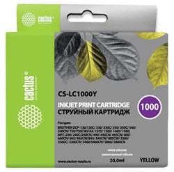 Струйный картридж Cactus CS-LC1000Y (LC1000Y) желтый для принтеров Brother DCP-130C, 330C, 350C, 357C, 540CN, 560CN, 750CW, 770CW, MFC-240C, 440CN, 465CN, 660CN, 680CN, 845CW, 885CW, 3360C, 5460CN (20 мл) - фото 14837