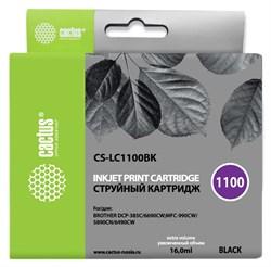 Струйный картридж Cactus CS-LC1100BK (LC1100BK) черный для принтеров Brother DCP-185c, 383c, 385c, 387c, 395cn, 585cw, J715w, 6690cw, MFC-490cw, J615w, 790cw, 795cw, 990cw, 5490cn, 5890cn, 5895cw, 6490cw (16 мл) - фото 14838