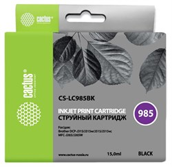 Струйный картридж Cactus CS-LC985BK (LC985BK) черный для принтеров Brother DCP J125, DCP J140W, DCP J315, DCP J315w, DCP J515, DCP J515w, MFC J220, MFC J265, MFC J265W, MFC J410, MFC J415W (15 мл) - фото 14858
