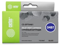 Струйный картридж Cactus CS-EPT0481 (T0481) черный для принтеров Epson PM A870, D770; Epson Stylus Photo R200, R210, R220, R300, R300M, R310, R320, R330, R340, R350, RX300, RX320, RX500, RX510, RX600, RX620, RX630, RX640 (14,4 мл) - фото 14870