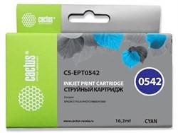 Струйный картридж Cactus CS-EPT0542 (T0542) голубой для принтеров Epson Stylus Photo R800, R1800 (16,2 мл) - фото 14889