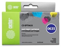 Струйный картридж Cactus CS-EPT0635 (T0635) набор для принтеров Epson Stylus C67, C87, CX3700, CX4100, CX4700 (4 x 10 мл) - фото 14948