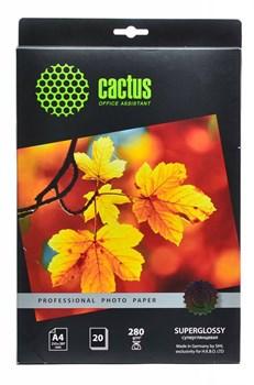Фотобумага Cactus Prof CS-HGA428020 A4/280г/м2/20л./белый глянцевое для струйной печати - фото 6838