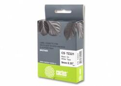 Лента Cactus CS-TZ221 (TZE-221) черный для принтеров P-touch PT-1010, PT-1280, PT-1280VP, PT-2700VP (9 мм x 8 м) - фото 6864