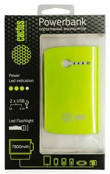 Мобильный аккумулятор Cactus CS-PBX3-7800WG 7800mAh 1A+2.1A зеленый/белый - фото 6931