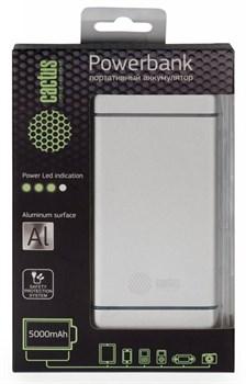 Мобильный аккумулятор Cactus CS-PBMS028-5000AL 5000mAh 2.1A серебристый - фото 6939
