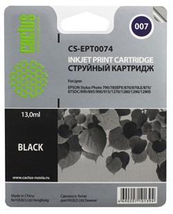 Струйный картридж Cactus CS-EPT0074 (C13T00740210) черный для принтеров Epson Stylus Photo 790, 870, 875DC, 890, 895, 895EX, 900, 915, 1270, 1290 (540 стр.) - фото 7305