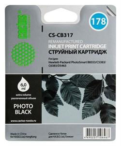 Струйный картридж Cactus CS-CB317 (HP 178) фото-черный для принтеров HP PhotoSmart 7510 C311, 7520, B8553, C309, C310, C410, C5300, C5380, C5383, C6383, D5460, D5463 (6 мл.) - фото 7791