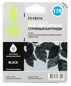 Струйный картридж Cactus CS-CB316 (HP 178) черный для принтеров HP DeskJet 3070A B611, 3522; PhotoSmart 5510 B111, 5520, 7520, B010, B110, B209, B210, B8553, C309, C310, C410, C5300, C5380, C5383, C6383, D5460, D5463 (9,6 мл.) - фото 7792