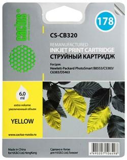 Струйный картридж Cactus CS-CB320 (HP 178) желтый для принтеров HP DeskJet 3070A B611, 3522; PhotoSmart 5510 B111, 5520, 7520, B010, B110, B209, B210, B8553, C309, C310, C410, C5300, C5380, C5383, C6383, D5460, D5463 (6 мл.) - фото 7823