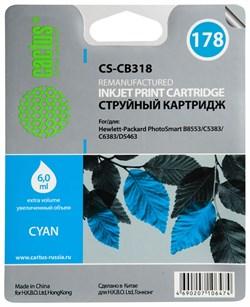 Струйный картридж Cactus CS-CB318 (HP 178) голубой для принтеров HP DeskJet 3070A B611, 3522; PhotoSmart 5510 B111, 5520, 7520, B010, B110, B209, B210, B8553, C309, C310, C410, C5300, C5380, C5383, C6383, D5460, D5463 (6 мл.) - фото 8004