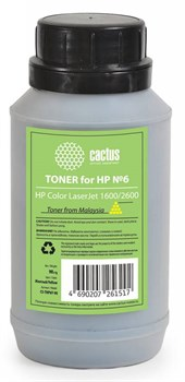 Тонер для принтера Cactus CS-THP6Y-90 желтый (флакон 90гр) HP  Color LaserJet 1600, 2600 - фото 8175