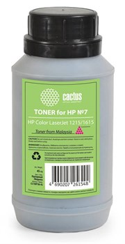 Тонер для принтера Cactus CS-THP7M-45 пурпурный (флакон 45гр) HP Color LaserJet 1215/1615 - фото 8178