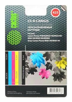 Комплект перезаправляемых картриджей Cactus CS-R-CAN425 голубой/пурпурный/желтый/черный (19.6мл) Canon PIXMA iP4840; MG5140/5240 4 шт - фото 9701