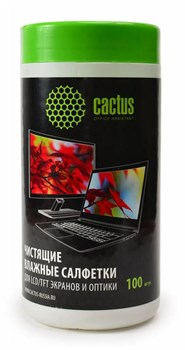 Салфетки Cactus CS-T1001 для экранов и оптики туба 100шт влажных - фото 9869