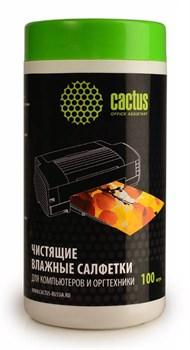 Салфетки Cactus CS-T1002 для компьютеров и оргтехники туба 100 шт влажных - фото 9870
