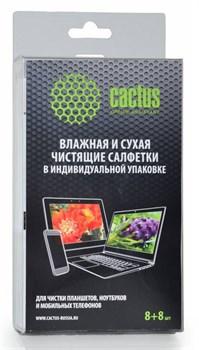 Салфетки Cactus CS-T1004 Сухая+влажная для планшетов, ноутбуков и моб. телефонов, 8+8 шт - фото 9880