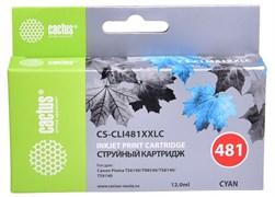 Струйный картридж Cactus CS-CLI481XXLC (CLI-481C XXL) голубой для Canon Pixma TR7540, TR8540, TS6140, TS8140, TS9140, TS704 (12 мл)