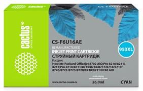 Струйный картридж Cactus CS-F6U16AE (HP 953XL) голубой увеличенной емкости для HP OfficeJet 7720 Pro, 7730 Pro, 7740 Pro, 8210 Pro, 8218 Pro, 8710 Pro, 8715 Pro, 8716 Pro, 8720 Pro, 8725 Pro, 8728 Pro, 8730 Pro, 8740 Pro (26 мл)