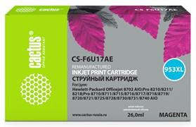 Струйный картридж Cactus CS-F6U17AE (HP 953XL) пурпурный увеличенной емкости для HP OfficeJet 7720 Pro, 7730 Pro, 7740 Pro, 8210 Pro, 8218 Pro, 8710 Pro, 8715 Pro, 8716 Pro, 8720 Pro, 8725 Pro, 8728 Pro, 8730 Pro, 8740 Pro (26 мл)