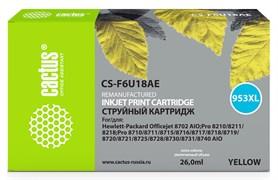 Струйный картридж Cactus CS-F6U18AE (HP 953XL) желтый увеличенной емкости для HP OfficeJet 7720 Pro, 7730 Pro, 7740 Pro, 8210 Pro, 8218 Pro, 8710 Pro, 8715 Pro, 8716 Pro, 8720 Pro, 8725 Pro, 8728 Pro, 8730 Pro, 8740 Pro (26 мл)
