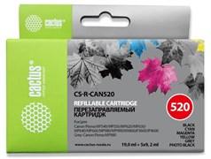 Перезаправляемый картридж Cactus CS-R-CAN520 голубой, пурпурный, желтый, черный, серый, фото черный Canon PIXMA MP540, MP550, MP620, MP630, MP640 (19ml + 5x9,2ml)