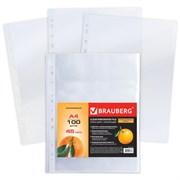 """Папки-файлы перфорированные, А4, Brauberg, """"апельсиновая корка"""" (100 шт.)"""