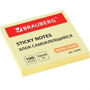 Блок самоклеящийся (стикеры) Brauberg, 76х76 мм, желтые (100 листов)