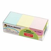 Блоки самоклеящиеся (стикеры) Brauberg, 38х51 мм, набор 12 шт., 3 цвета, (100 листов)