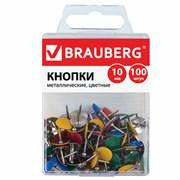 Кнопки канцелярские Brauberg, металлические, цветные, 10 мм (100 шт.)
