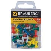 Силовые кнопки-гвоздики Brauberg, цветные (50 шт.)