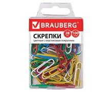 Скрепки Brauberg, 28 мм, цветные, в пластиковой коробке (100 шт.)